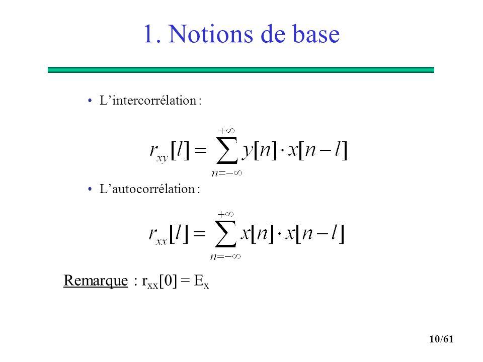 1. Notions de base Remarque : rxx[0] = Ex L'intercorrélation :